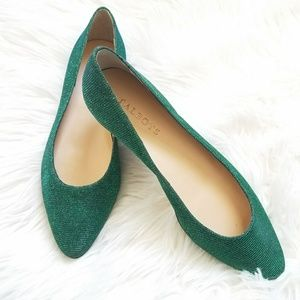 NEW Talbots Emerald Green Glitter Flats.